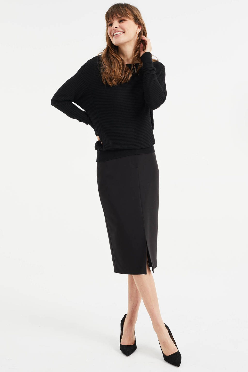 WE Fashion fijngebreide trui met textuur black uni, Black Uni