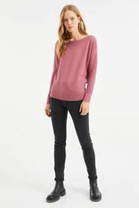 WE Fashion fijngebreide trui met textuur rosé, Rosé