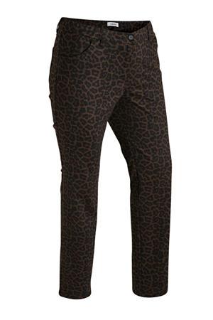 skinny jeans panterprint zwart