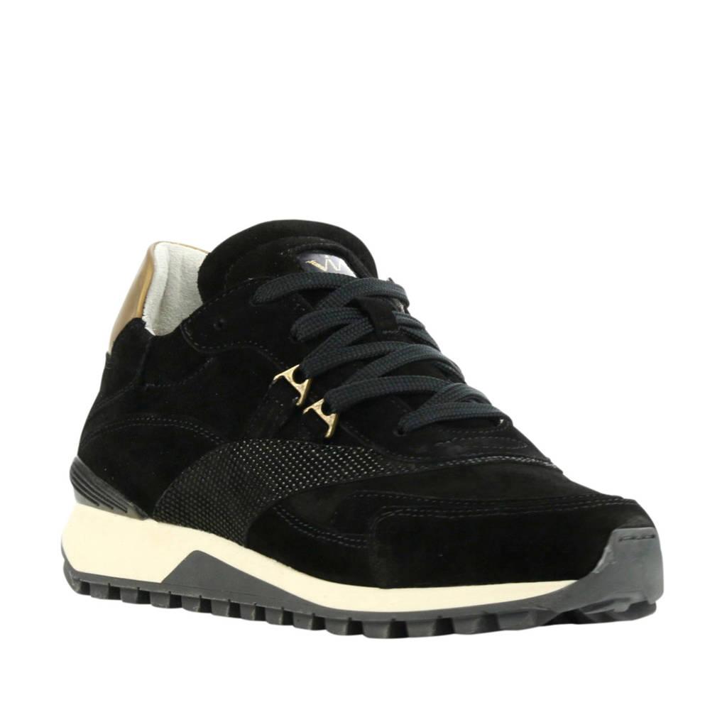 Via Vai 5503065  suède sneakers zwart, Zwart/goud