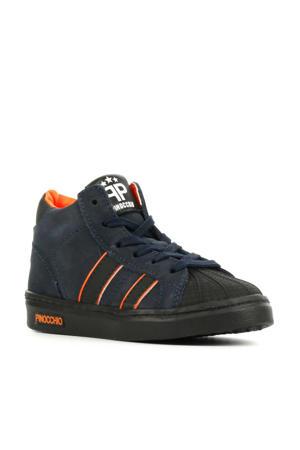 P1896  hoge nubuck sneakers donkerblauw/oranje