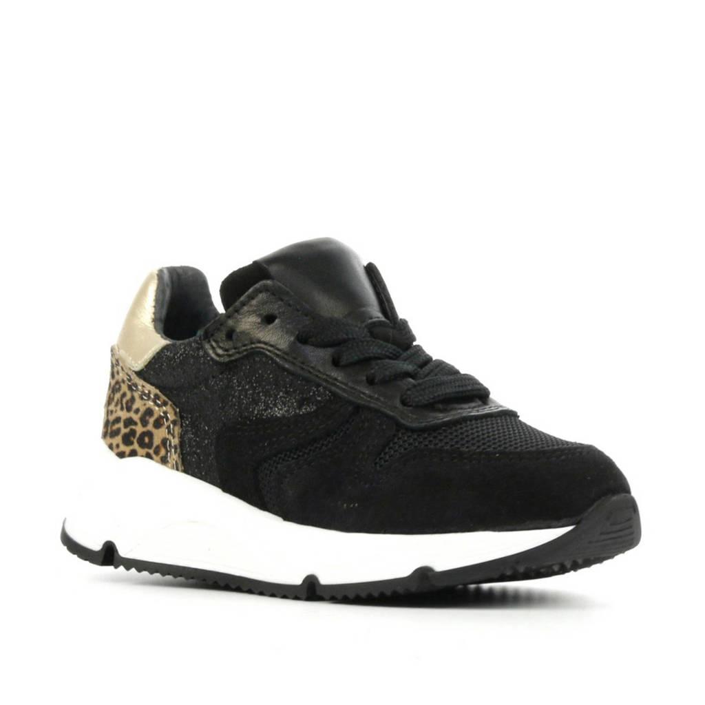 Pinocchio P1984  suède sneakers zwart/goud, Zwart/goud