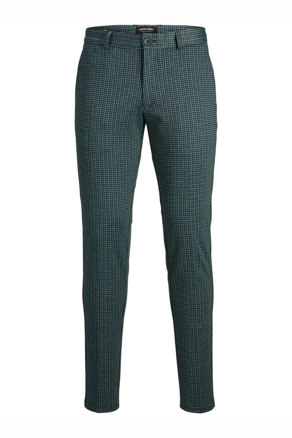 JACK & JONES JEANS INTELLIGENCE geruite slim fit pantalon Marco groen, Groen