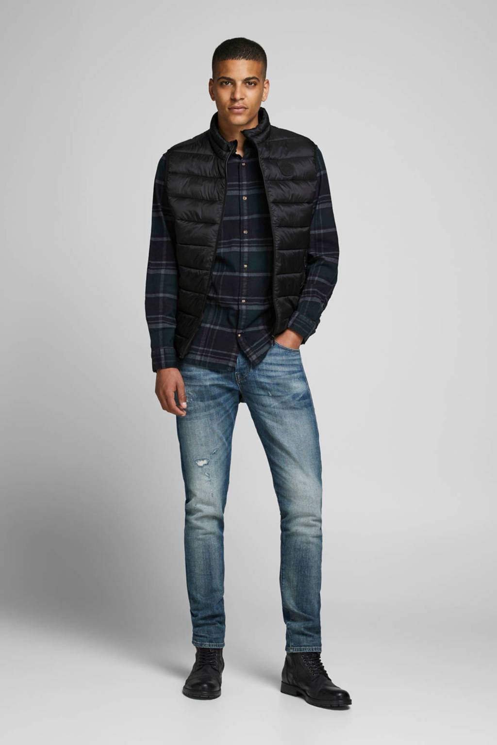 JACK & JONES ESSENTIALS bodywarmer zwart, Zwart