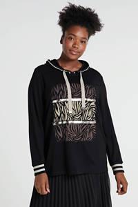No Secret hoodie met printopdruk en pailletten zwart/ecru/bruin, Zwart/ecru/bruin