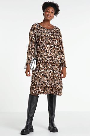 jurk met contrastbies en glitters bruin/wit/zwart