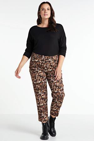 slim fit broek met zijstreep bruin/zwart/wit