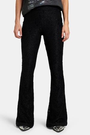 high waist skinny broek Lotty Lace met all over print zwart