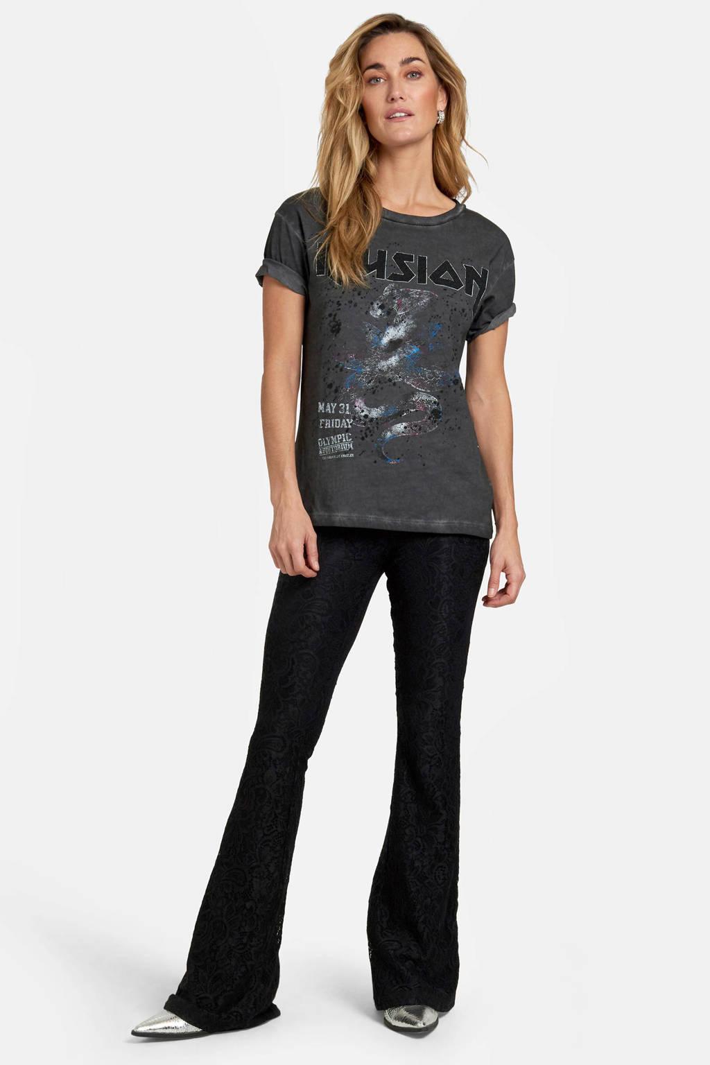 Eksept by Shoeby high waist skinny broek Lotty Lace met all over print zwart, Zwart