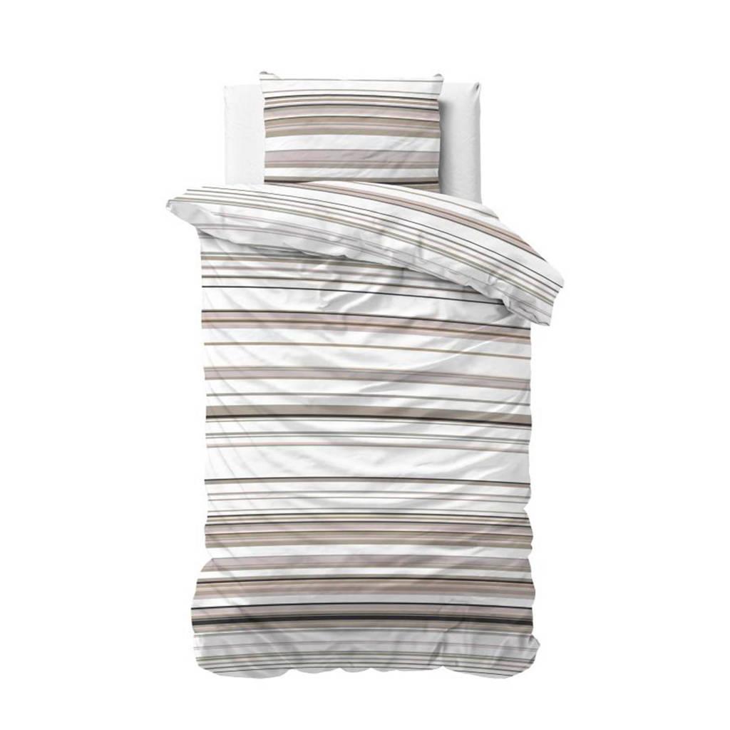 Sleeptime katoenen dekbedovertrek 1 persoons, Taupe, 1 persoons (140 cm breed)