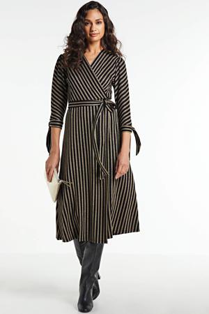 gestreepte jurk Dress wrap lurex stripe bruin