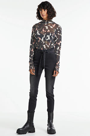 top Top turtleneck camou print on mesh met all over print multi