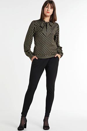gestreepte blouse Top bow lurex stripe bruin