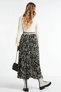 Summum Woman rok Skirt plisse zebra print met zebraprint en glitters zwart, Zwart