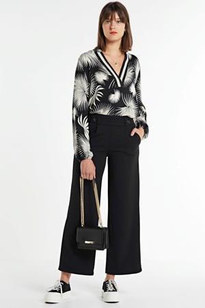 blouse Top v-neck printed jacquard met contrastbies zwart