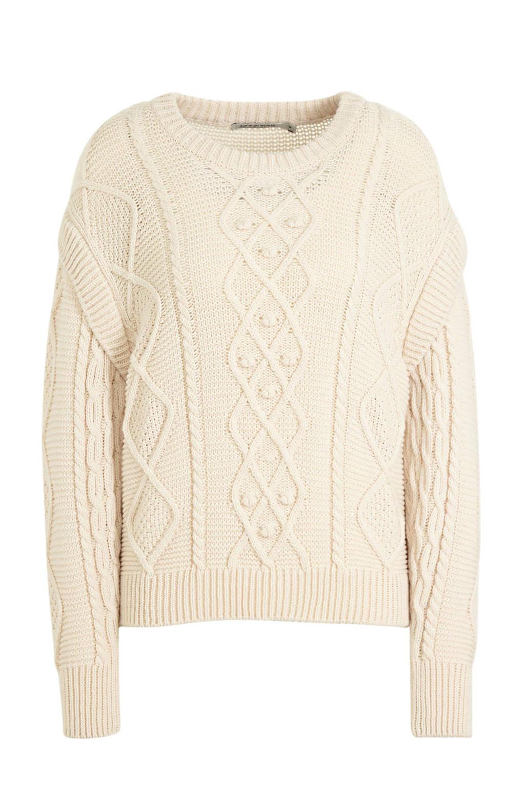 Summum Woman trui Cable sweater wool blend knit met wol ecru, Ecru