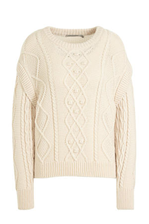 trui Cable sweater wool blend knit met wol ecru