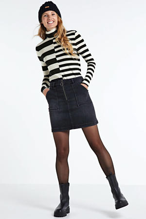 gestreepte top Top turtleneck cotton lyocell ea stripe zwart