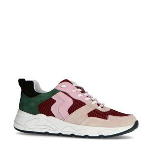 suède sneakers bordeauxrood/multi