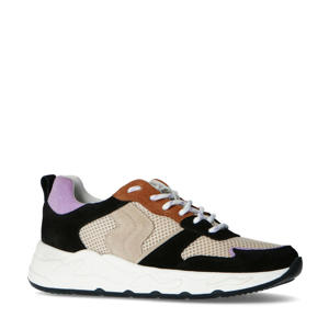 suède sneakers zwart/multi