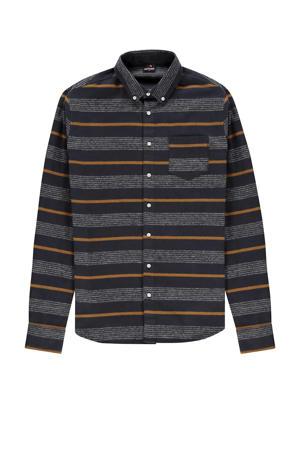 gestreept regular fit overhemd donkerblauw/geel