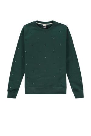 sweater met all over print groen