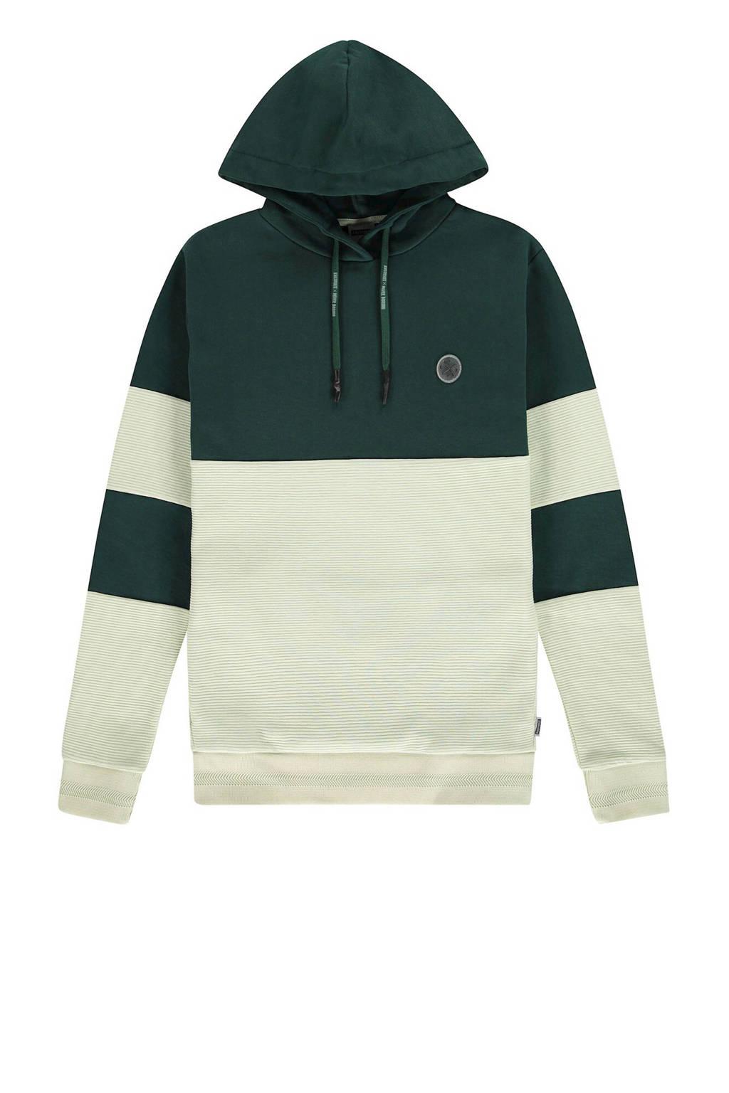 Kultivate hoodie groen/ecru, Groen/ecru