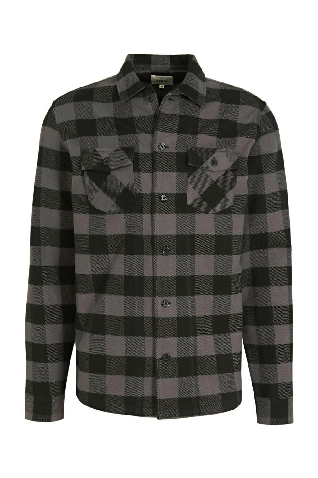 Redefined Rebel geruit regular fit overhemd Jerry  grijs/zwart, Grijs/zwart
