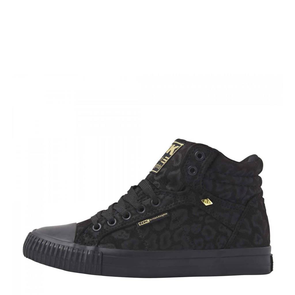 British Knights Dee  hoge sneakers met panterprint zwart, Zwart
