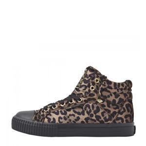Dee  hoge sneakers met panterprint bruin