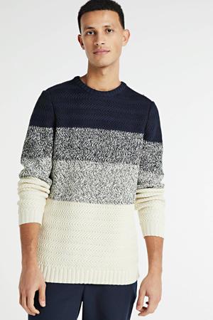 gestreepte trui donkerblauw/ecru