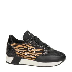 Park Runner  sneakers met zebraprint zwart/bruin
