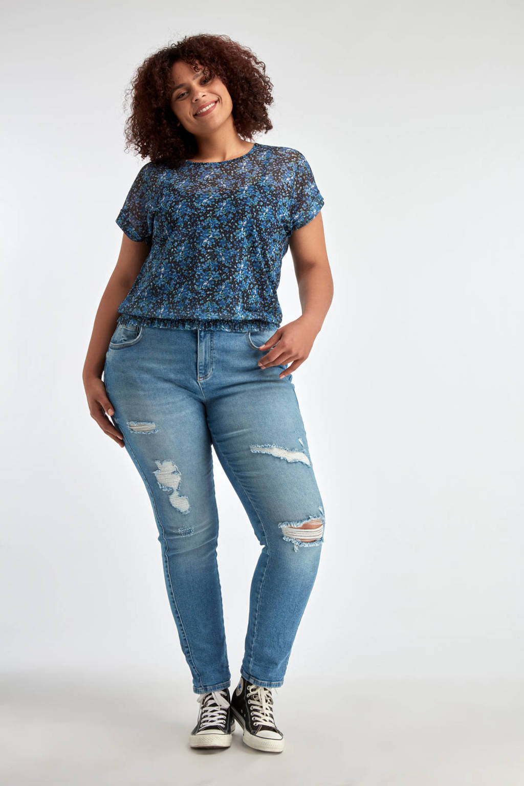 MS Mode semi-transparante top met all over print blauw, Blauw