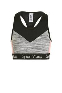 C&A Here & There bh top - set van 2 grijs melange/zwart/roze, Grijs melange/zwart/roze