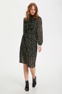 Saint Tropez jurk Lilly met all over print en ruches zwart, Zwart