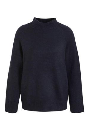 gemêleerde gebreide trui Cleo donkerblauw