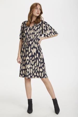 jurk Cam met all over print blauw/beige