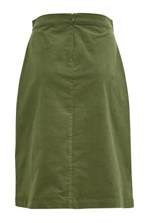 corduroy rok Cordie met textuur legergroen