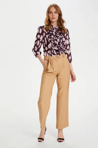Saint Tropez blouse Lilly met dierenprint en ruches donkerrood, Donkerrood