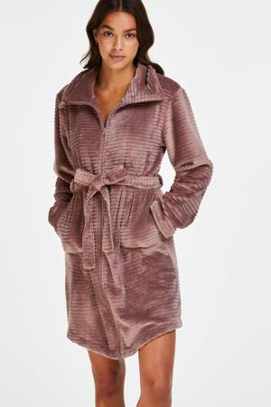 fleece badjas met ritssluiting donkerroze