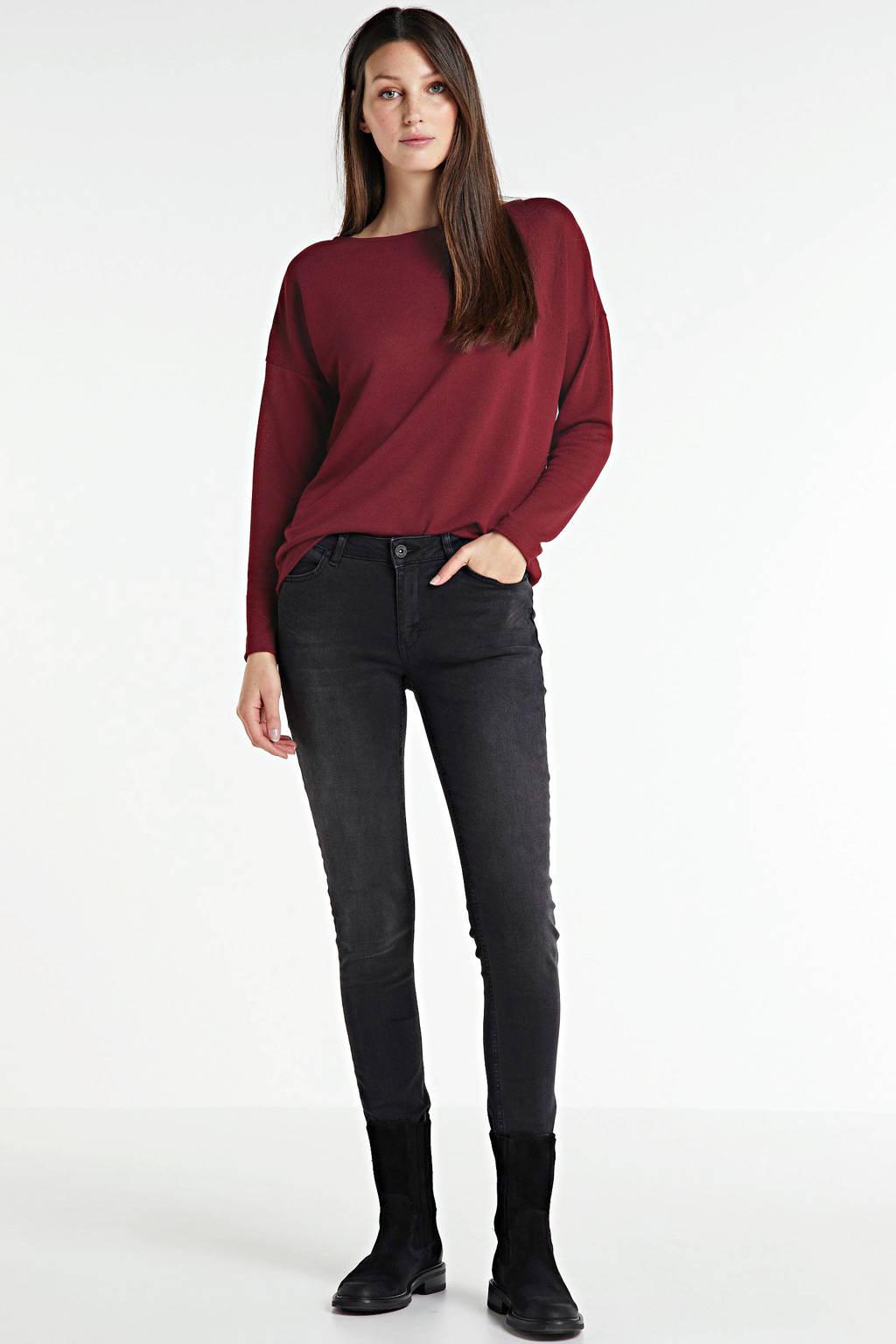 anytime fijngebreide trui rood, Donkerrood