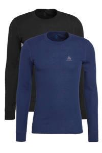 Odlo thermoshirt zwart/donkerblauw (set van 2), Zwart