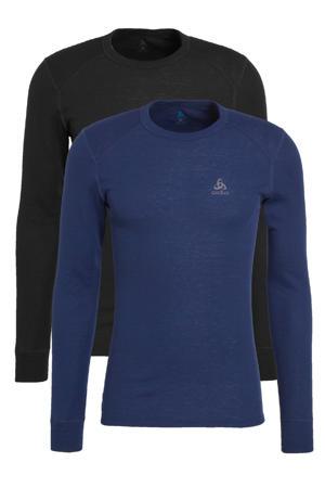 thermoshirt zwart/donkerblauw (set van 2)