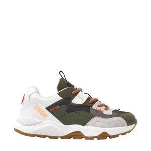 Gio  chunky leren sneakers groen/wit
