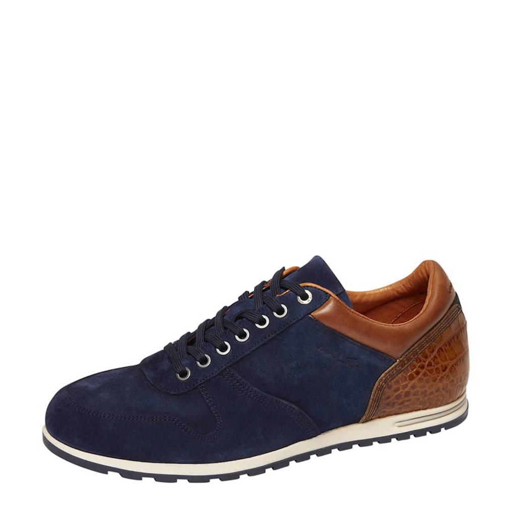 Van Lier   suède sneakers donkerblauw, Donkerblauw/Cognac