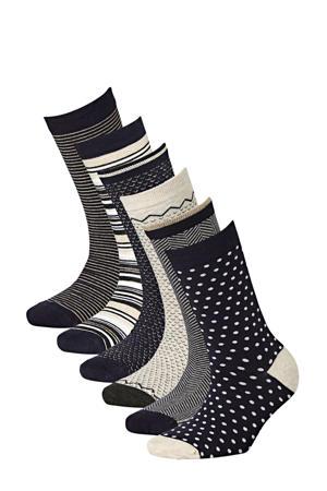 sokken Bamboe - set van 6 marine
