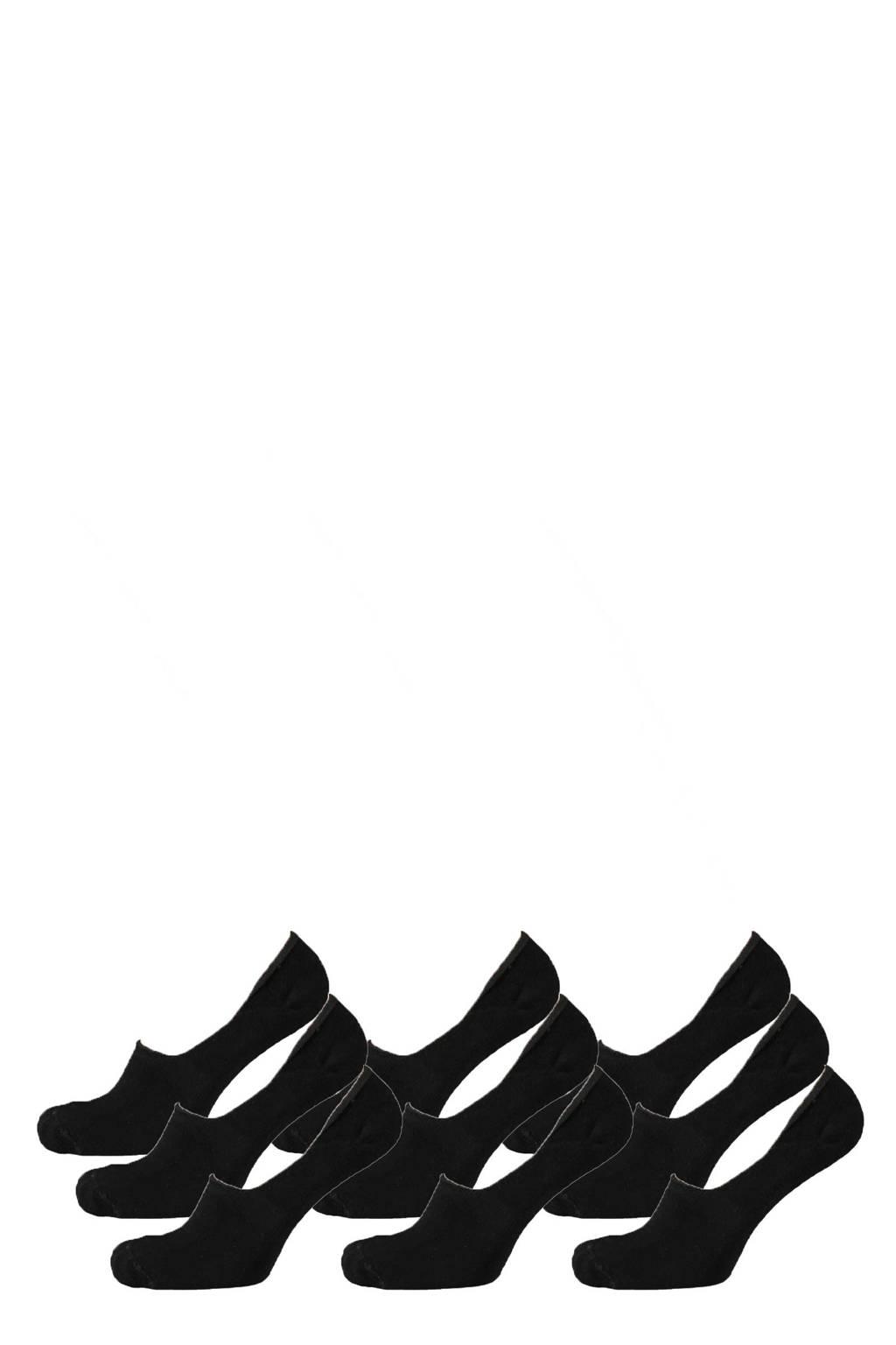 Apollo no show sneakersokken - set van 9 zwart, Zwart