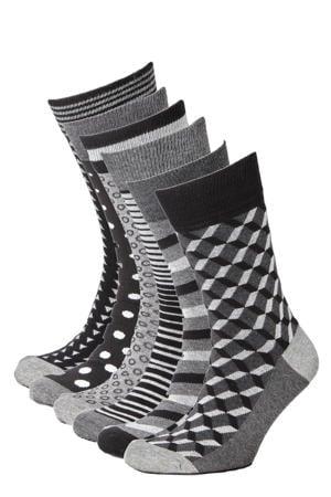 sokken ( 6 paar) zwart/grijs