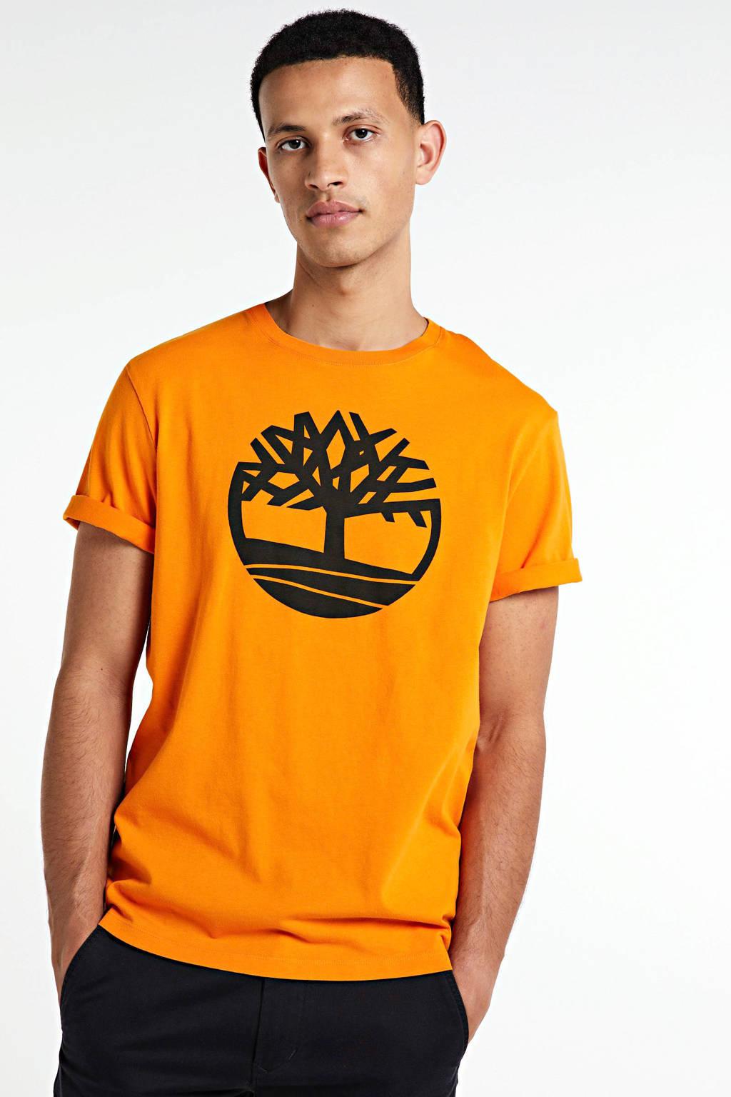 Timberland T-shirt met logo oranje/zwart, Oranje/zwart