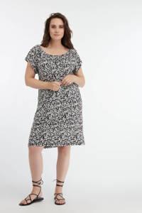 MS Mode jurk met all over print zwart/wit, Zwart/wit
